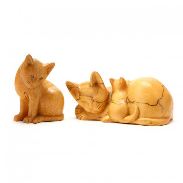 nc-folk-art-vintage-carved-cats-hope-brown-brasstown-carvers