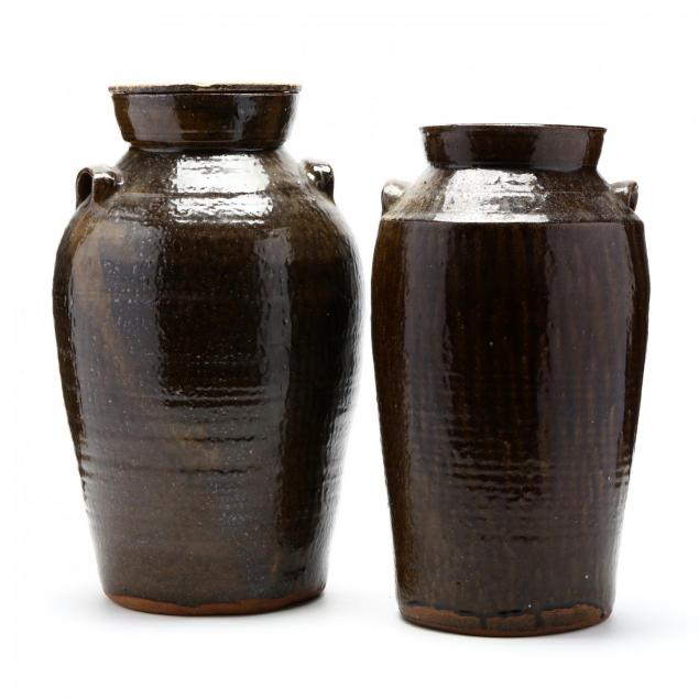 two-western-nc-pottery-churns