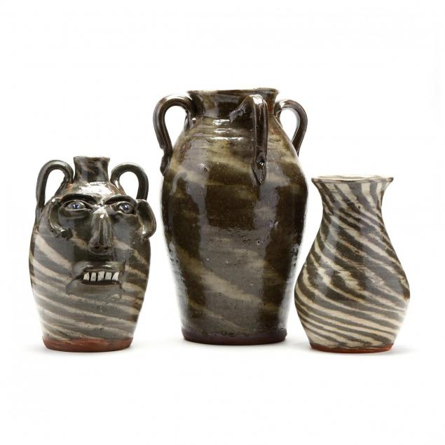 western-nc-folk-pottery-three-pieces-burlon-craig-lincoln-county-1914-2009