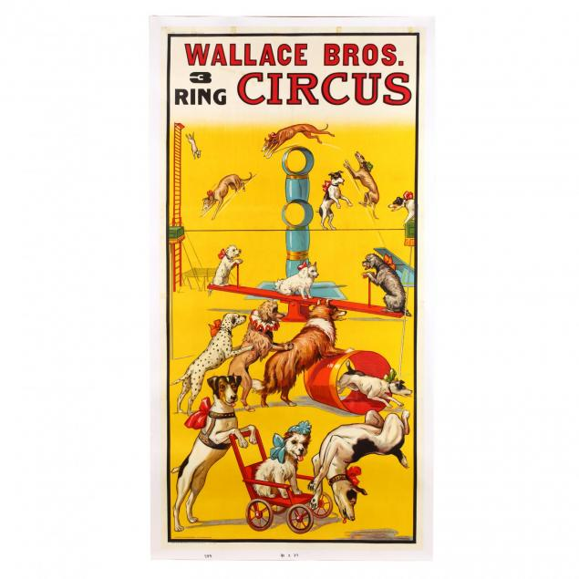 a-rare-and-monumental-wallace-bros-three-ring-vintage-circus-poster