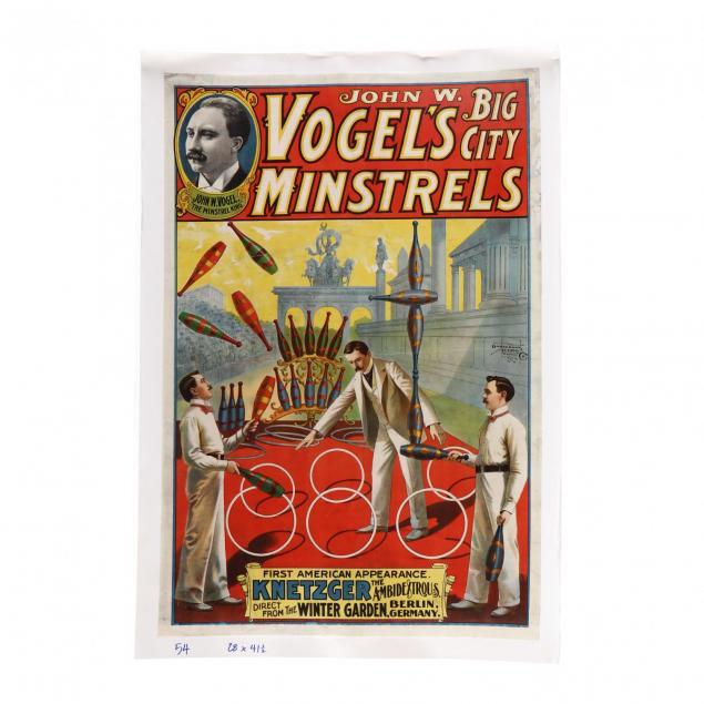 john-w-vogel-s-big-city-minstrels-vintage-poster-circa-1903