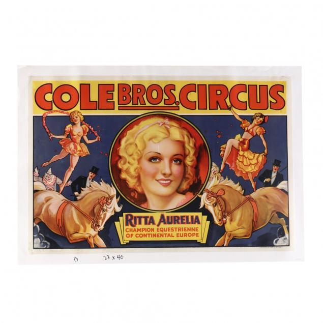 cole-bros-circus-featuring-ritta-aurelia-vintage-poster