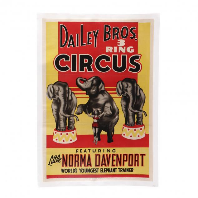 dailey-bros-three-ring-circus-featuring-little-norma-davenport-vintage-poster