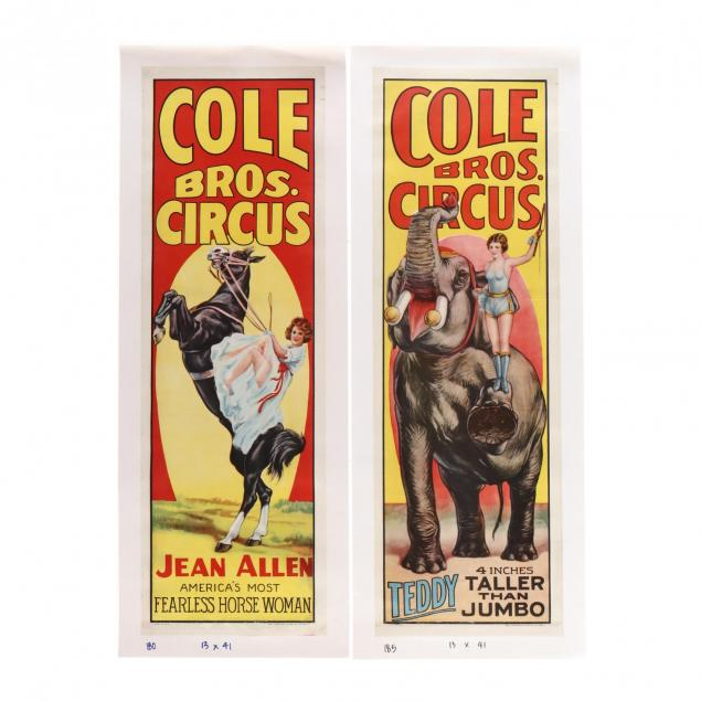two-banner-format-cole-bros-vintage-circus-posters