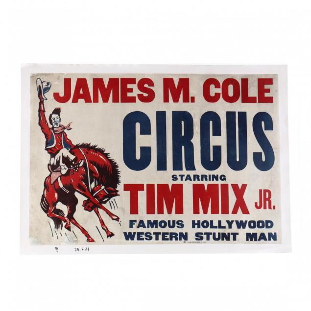 james-m-cole-circus-starring-tim-mix-jr-vintage-poster
