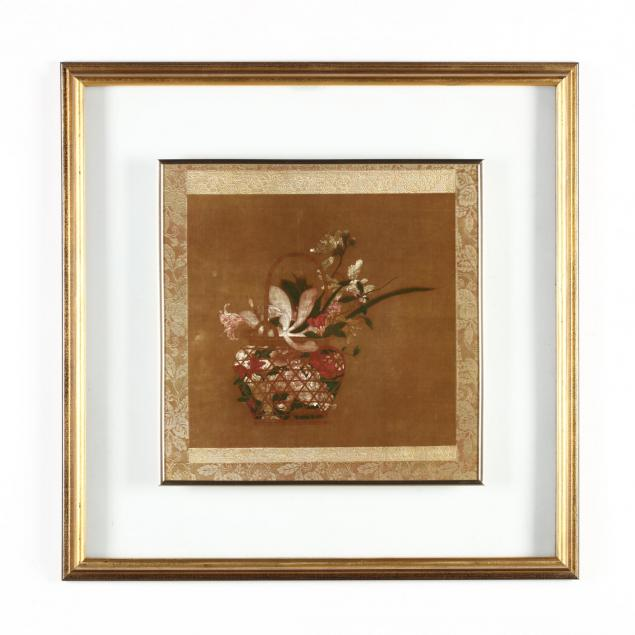 decorative-asian-print-of-textile-in-unusual-frame
