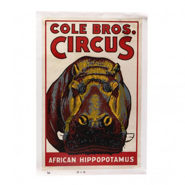 cole-bros-circus-featuring-the-african-hippopotamus-vintage-poster