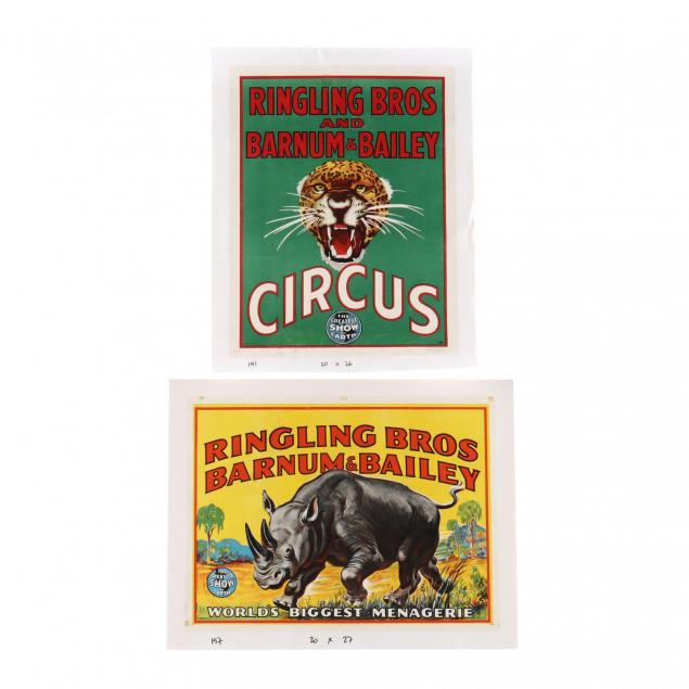 two-ringling-bros-and-barnum-bailey-vintage-circus-posters-featuring-a-leopard-and-rhinoceros