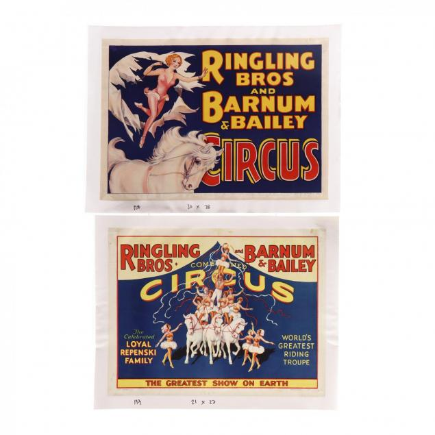 two-ringling-bros-and-barnum-bailey-circus-posters-featuring-equestrian-acrobats-1930s