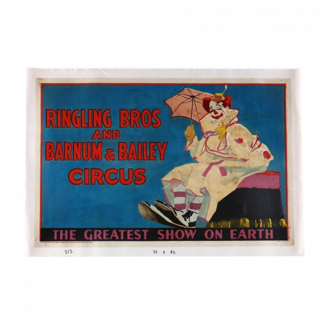 ringling-bros-and-barnum-bailey-circus-clown-with-parasol-vintage-poster-1943