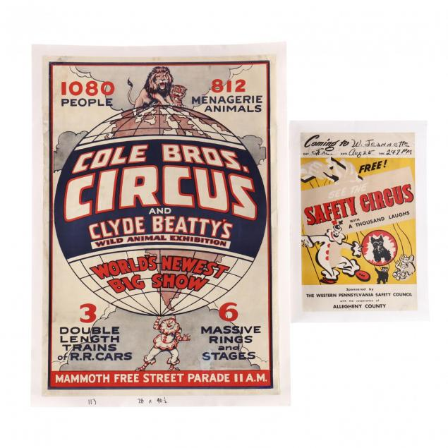 two-vintage-circus-posters-featuring-various-animals-and-clowns