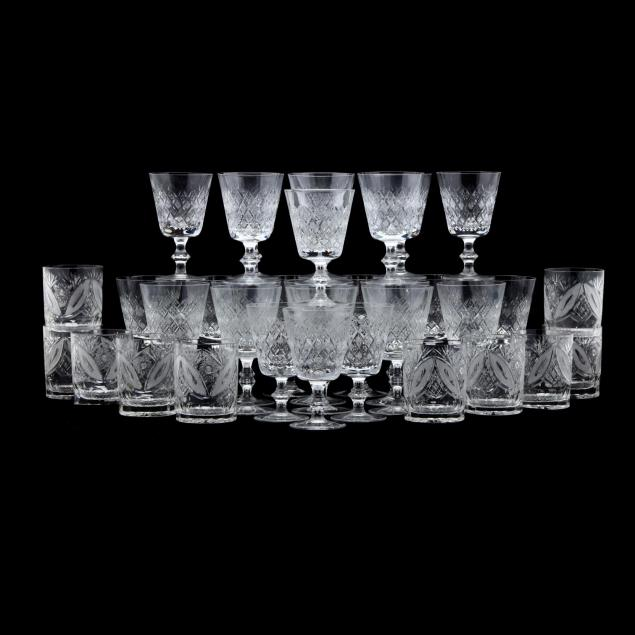 large-group-of-vintage-glass-stemware