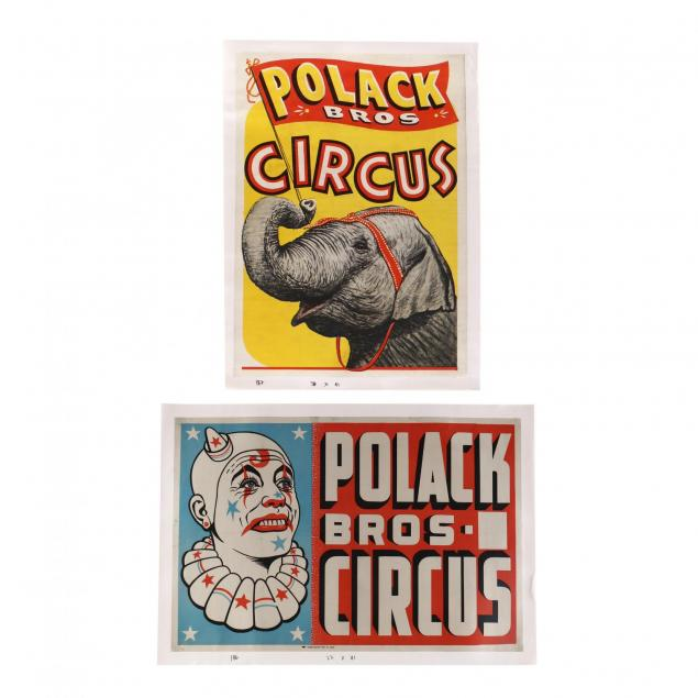 two-polack-bros-vintage-circus-posters-elephant-and-clown