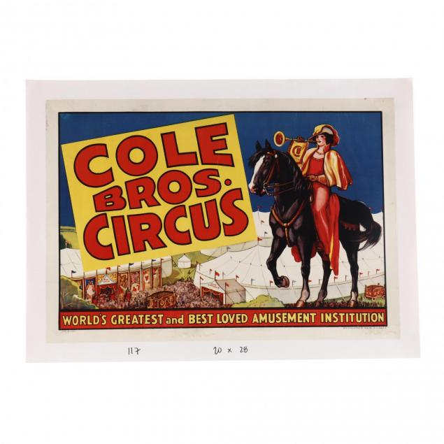 cole-bros-circus-woman-on-horseback-vintage-poster