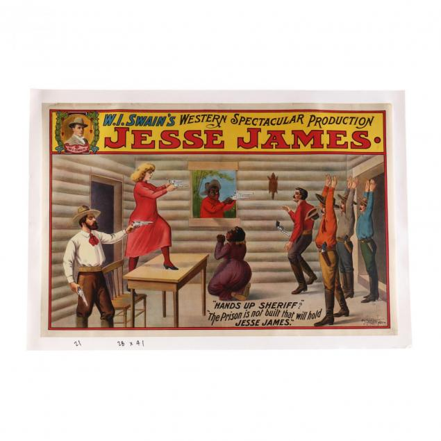 i-jesse-james-hands-up-sheriff-the-prison-is-not-built-that-will-hold-jesse-james-i-w-i-swain-s-western-spectacular-production-tent-show-poster