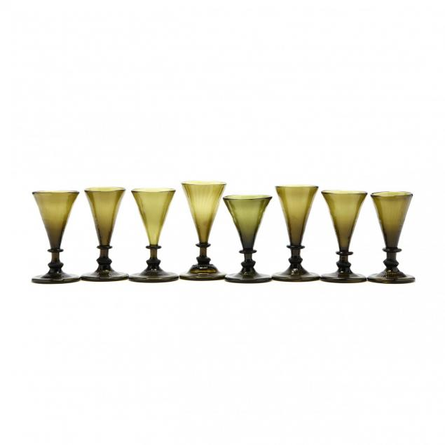 set-of-eight-colonial-style-green-glass-stems