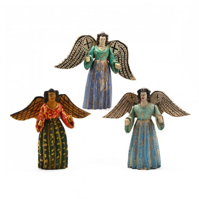 three-south-american-carved-and-painted-angels