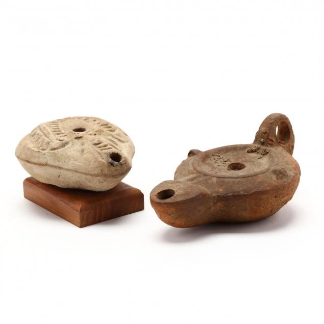 two-roman-pottery-oil-lamps