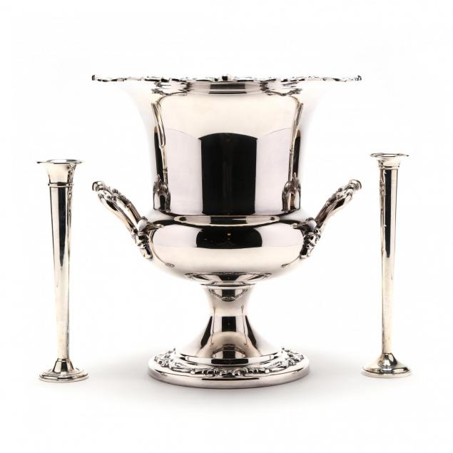 a-silverplate-wine-cooler-and-a-pair-of-sterling-silver-bud-vases