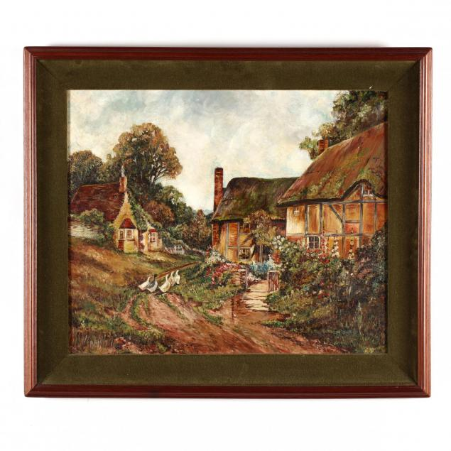 vintage-painting-of-a-chocolate-box-cottage