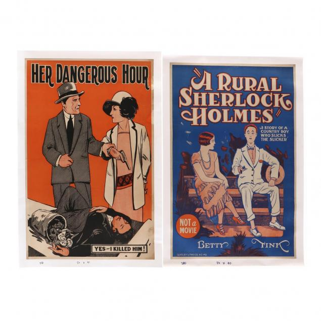 two-vintage-theater-posters-i-her-darkest-hour-i-and-i-a-rural-sherlock-holmes-i