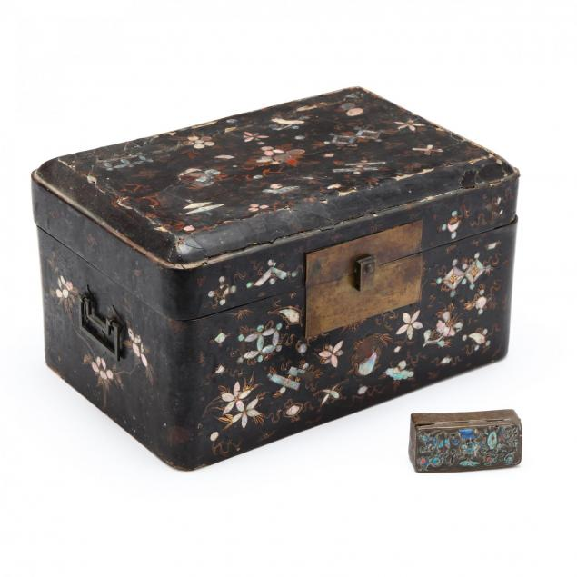 a-chinese-inlaid-large-lacquered-wooden-box-and-bronze-small-box
