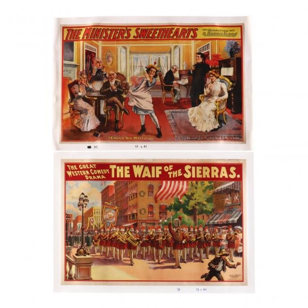 two-vintage-theater-posters-i-the-waif-of-the-sierras-i-and-i-the-minister-s-sweethearts-i-could-die-waltzing-i