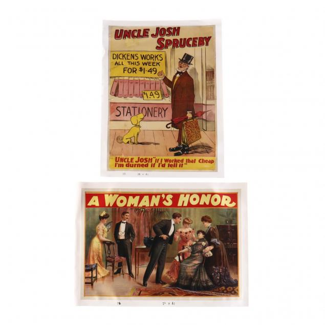 two-early-theater-posters-i-a-woman-s-honor-i-and-i-uncle-josh-spruceby-i