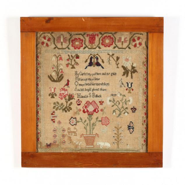 antique-needlework-sampler-american