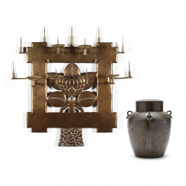 antique-chinese-pricket-sconce-and-tea-caddy