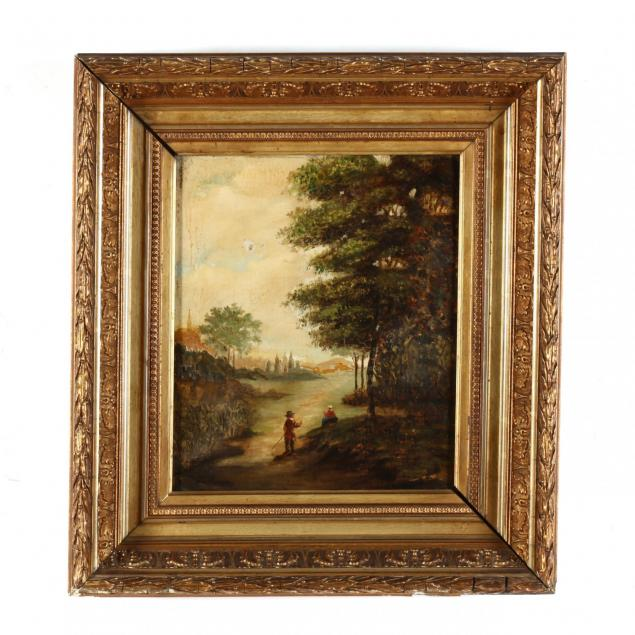 antique-continental-school-landscape-painting-with-figures