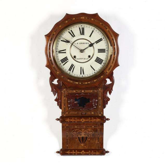 carved-and-inlaid-walnut-wall-clock-j-g-graves