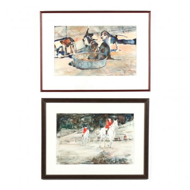 vivien-weller-nc-two-hunt-related-watercolors