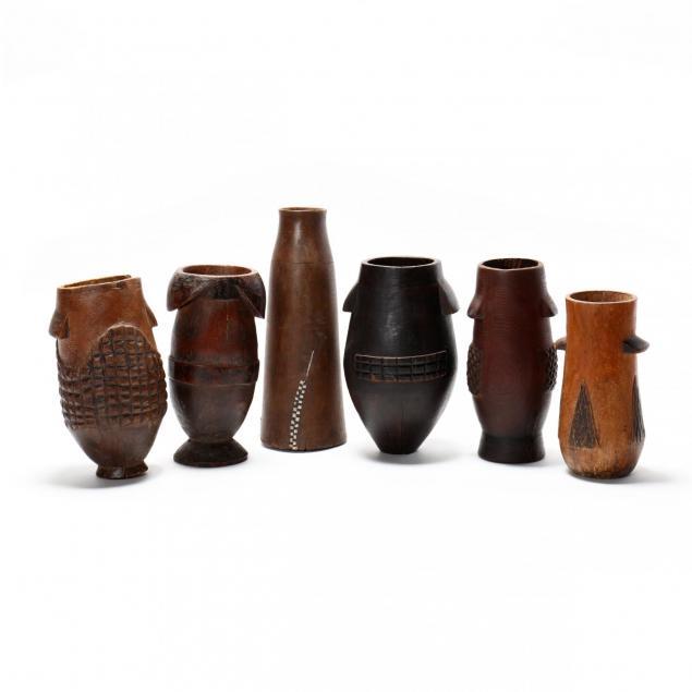 six-zulu-carved-milk-pails