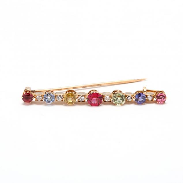 14kt-gold-multi-stone-and-diamond-bar-brooch