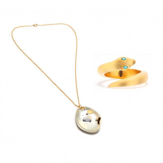 lucite-serpent-bracelet-and-a-pendant-necklace-alexis-bittar