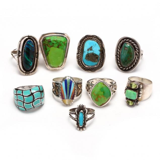 nine-silver-and-stone-rings