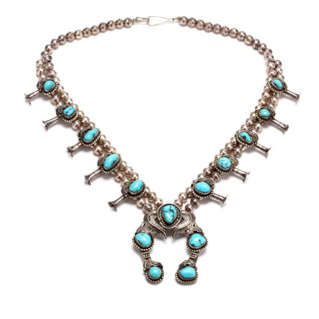 southwestern-silver-and-turquoise-squash-blossom-necklace