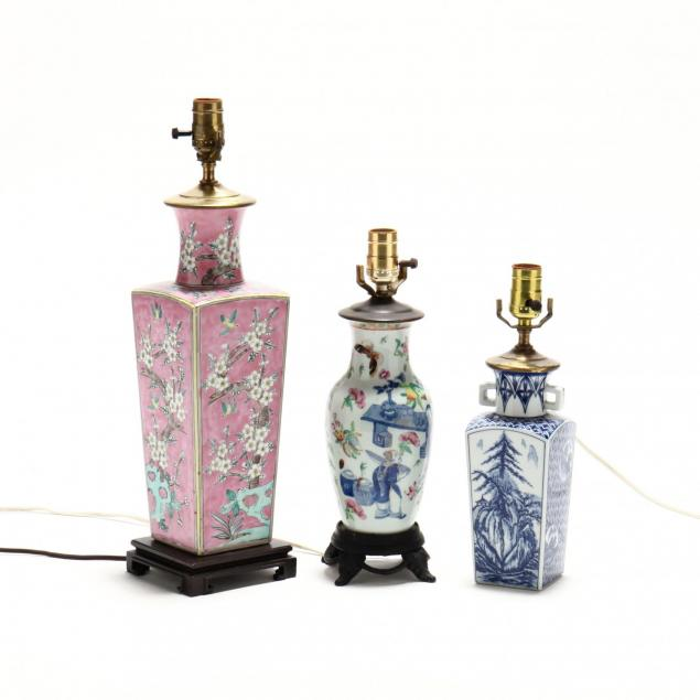 three-chinese-export-porcelain-table-lamps