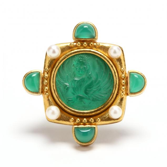 18kt-gold-venetian-glass-mother-of-pearl-and-dyed-green-chalcedony-brooch-pendant-elizabeth-locke