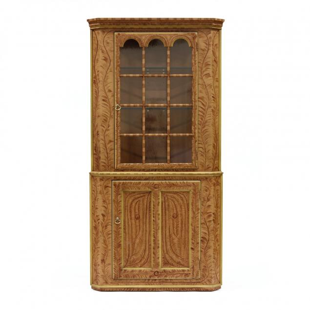 contemporary-paint-decorated-chippendale-style-corner-cabinet