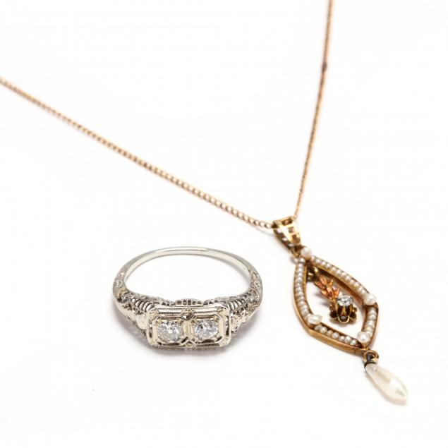 an-antique-18kt-white-gold-and-diamond-ring-and-an-antique-gold-and-gem-set-lavalier