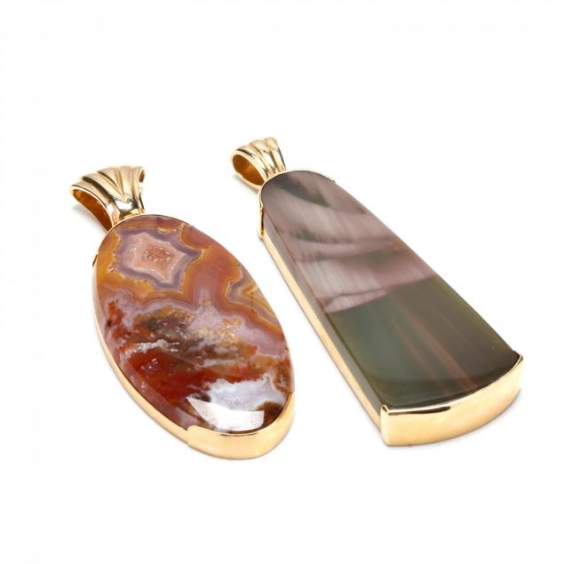 two-14kt-gold-agate-pendants-signed