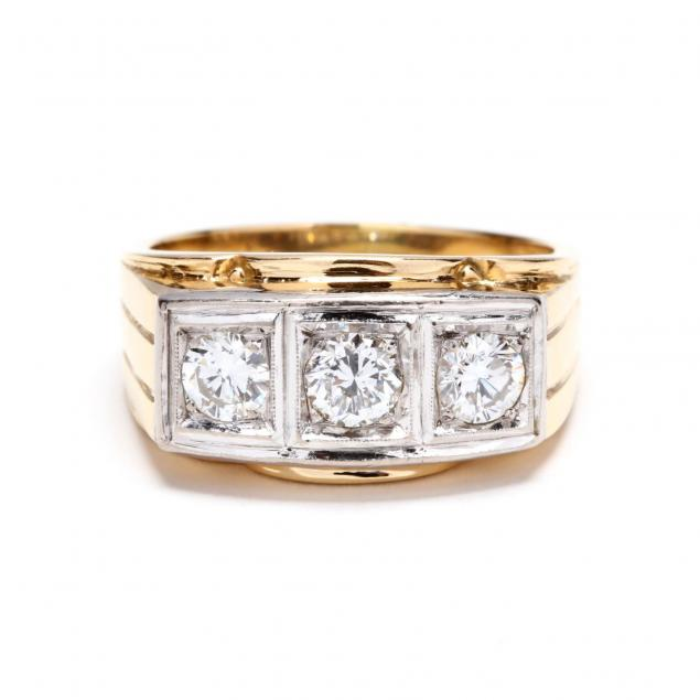 gent-s-two-color-18kt-gold-three-stone-diamond-ring
