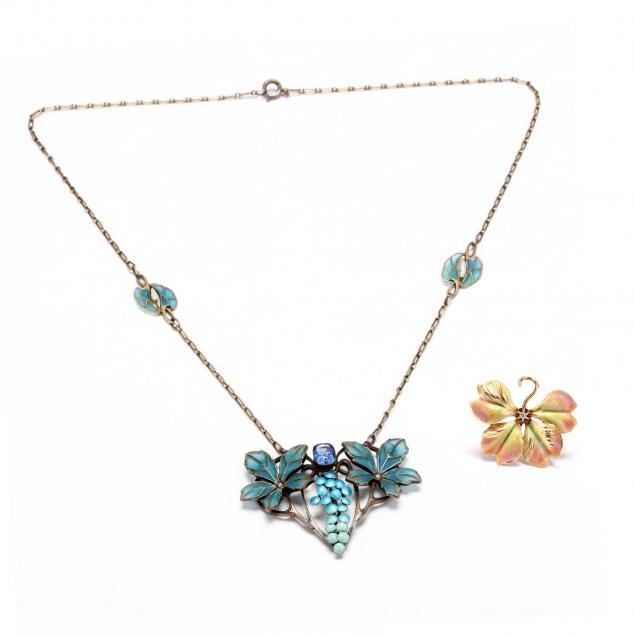 two-art-nouveau-jewelry-items
