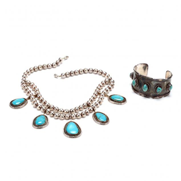 southwestern-silver-and-turquoise-squash-blossom-necklace-and-bracelet