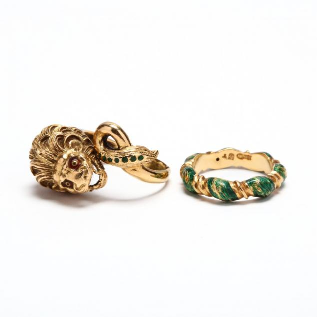 two-18kt-gold-and-green-enamel-rings