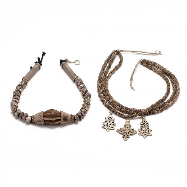 two-silver-and-silver-tone-tribal-necklaces