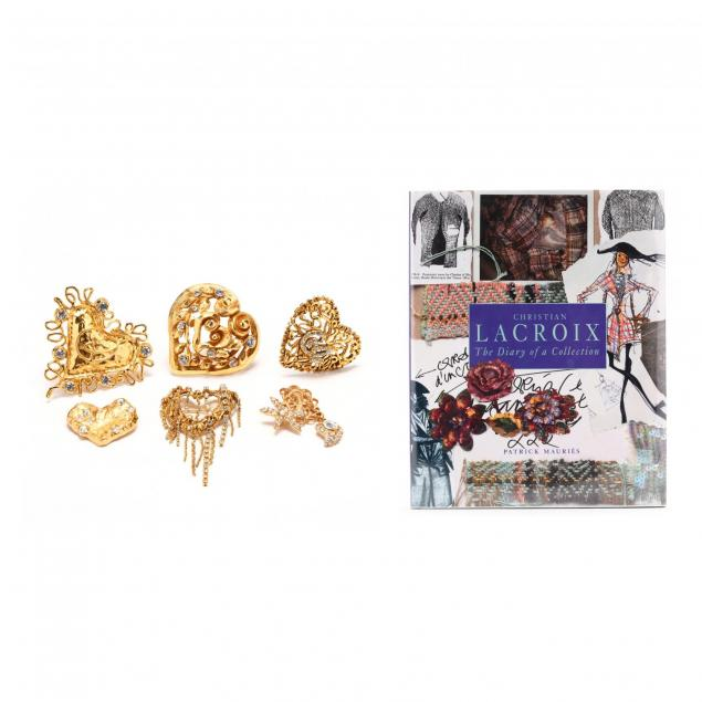 a-group-of-six-gold-tone-heart-brooches-and-i-christian-lacroix-the-diary-of-a-collection-i