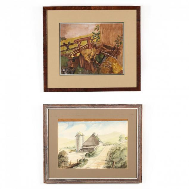 american-school-20th-century-two-watercolors-picturing-farm-life